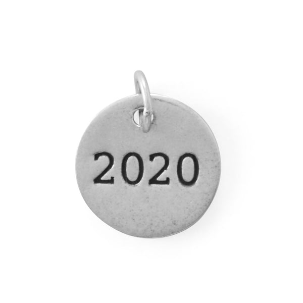 "Sterling Silver ""2020"" Round Charm - deelytes-com"