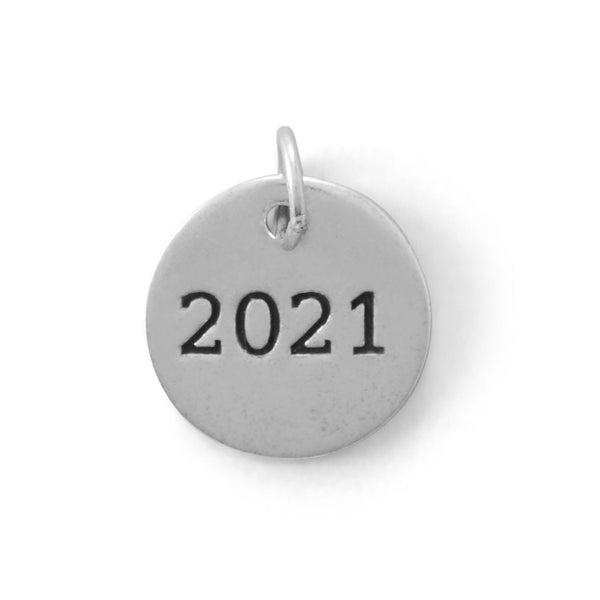 "Sterling Silver ""2021"" Round Charm - deelytes-com"