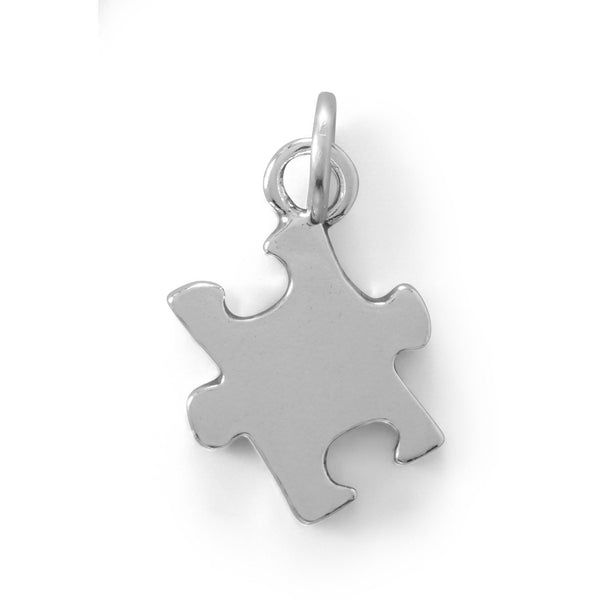 """Autism"" Awareness Puzzle Piece Sterling Silver Charm - deelytes-com"
