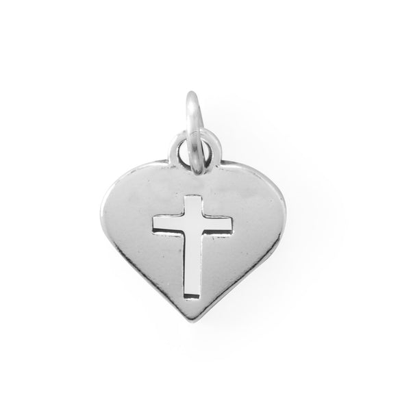 Cutout Cross Heart Charm Sterling Silver - deelytes-com