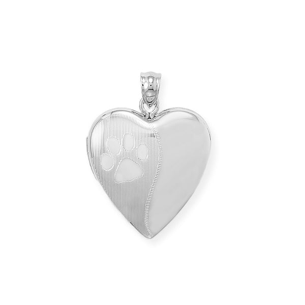 Heart with Paw Print Locket Keepsake Photo and Memory Keeper - deelytes-com