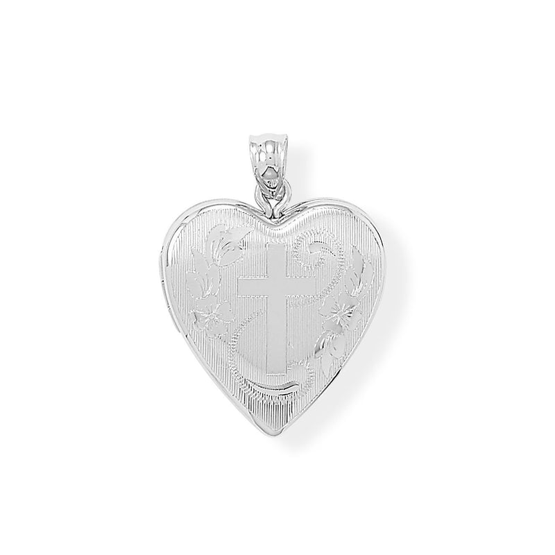 Sterling Silver Heart Locket Keepsake Photo and Memory Keeper with Cross - deelytes-com
