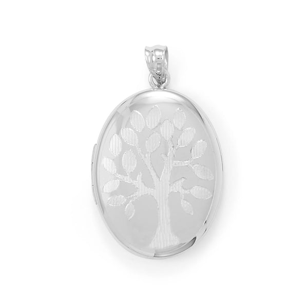 Family Tree Locket Keepsake Photo and Memory Keeper with Cross Sterling Silver - deelytes-com