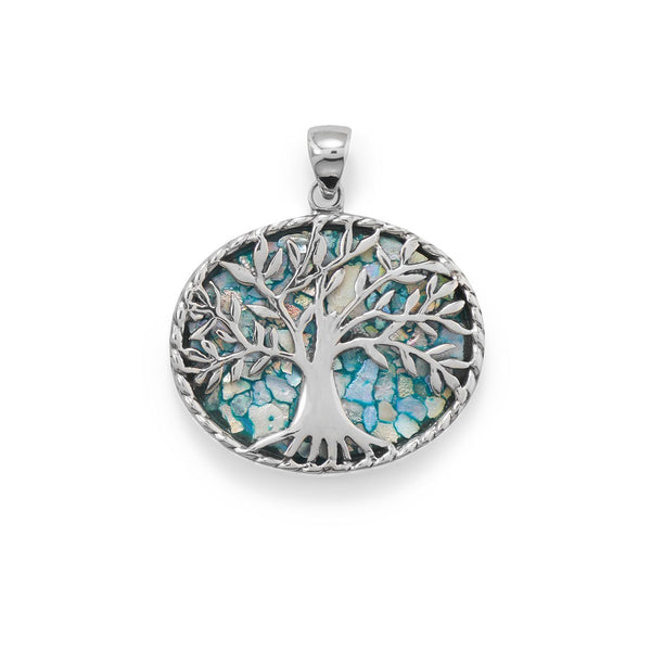Sterling Silver Roman Glass Tree of Life Pendant - deelytes-com