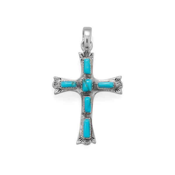 Sterling Silver Cross with Rectangle Turquoise Pendant - deelytes-com