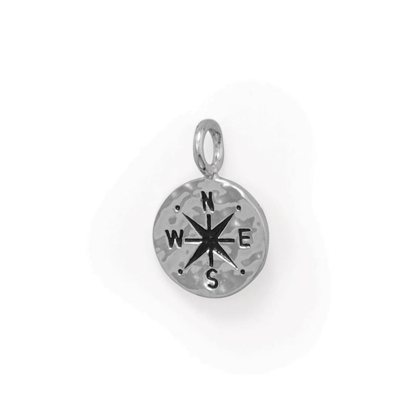 Keep It Moving! Hammered Compass Pendant - deelytes-com