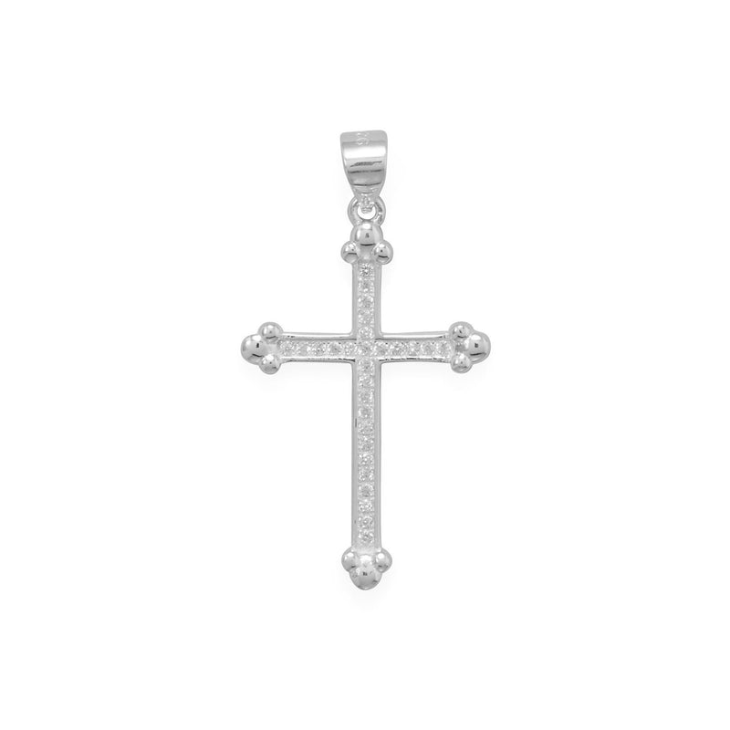 CZ Cross Pendant with Fleuree Ends - deelytes-com