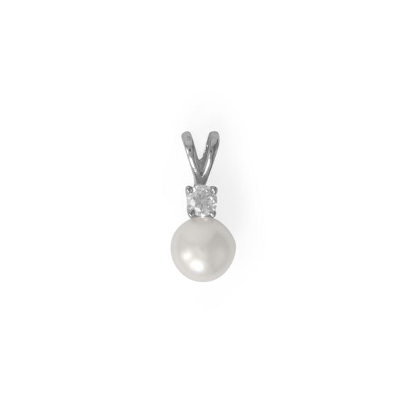 Sterling Silver CZ and Freshwater Pearl Slide - deelytes-com