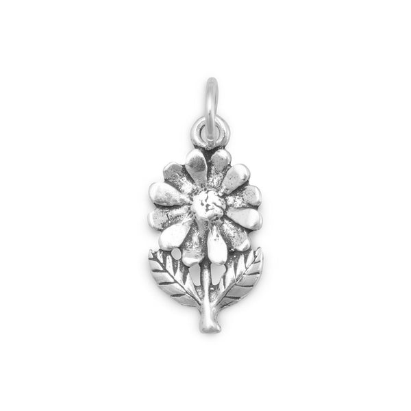 Flower with Stem and Leaves Sterling Silver Charm - deelytes-com
