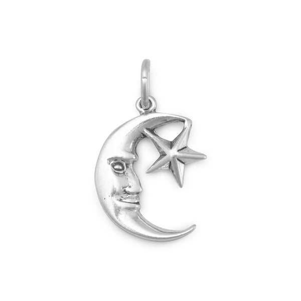 Small Moon and Star Sterling Silver Charm - deelytes-com