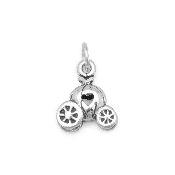 Pumpkin Carriage with Heart Sterling Silver Charm - deelytes-com
