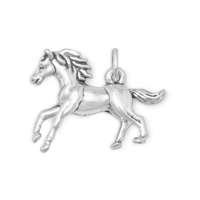 Galloping Horse Sterling Silver Charm - deelytes-com