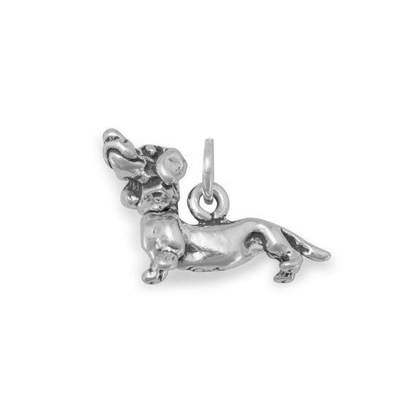 Dachshund with Movable Head Charm Sterling Silver - deelytes-com