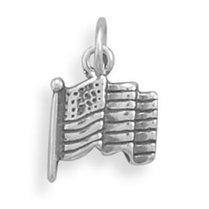 Small American Flag Sterling Silver Charm - deelytes-com