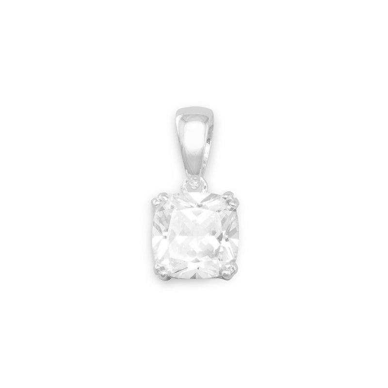 Round Edge Square CZ Filigree Sterling Silver Side Pendant - deelytes-com
