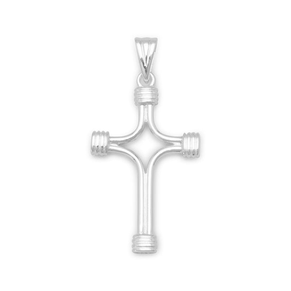 Sterling Silver Polished Cross with Wrapped Ends Pendant - deelytes-com