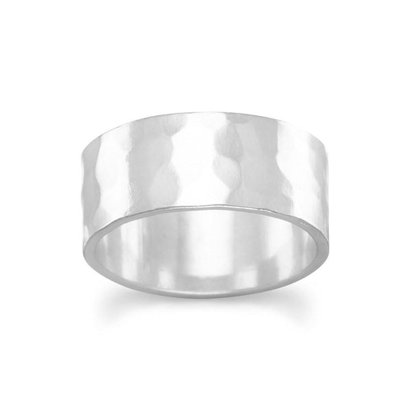 Hammered Sterling Silver Band Ring - deelytes-com