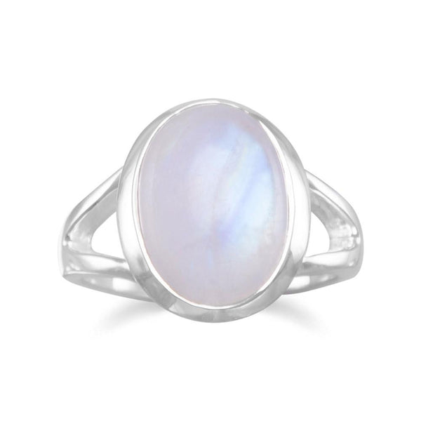 Rainbow Moonstone Gemstone Sterling Silver Ring - deelytes-com