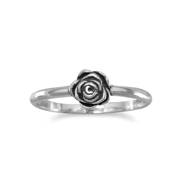 Small Sterling Silver Rose Ring - deelytes-com
