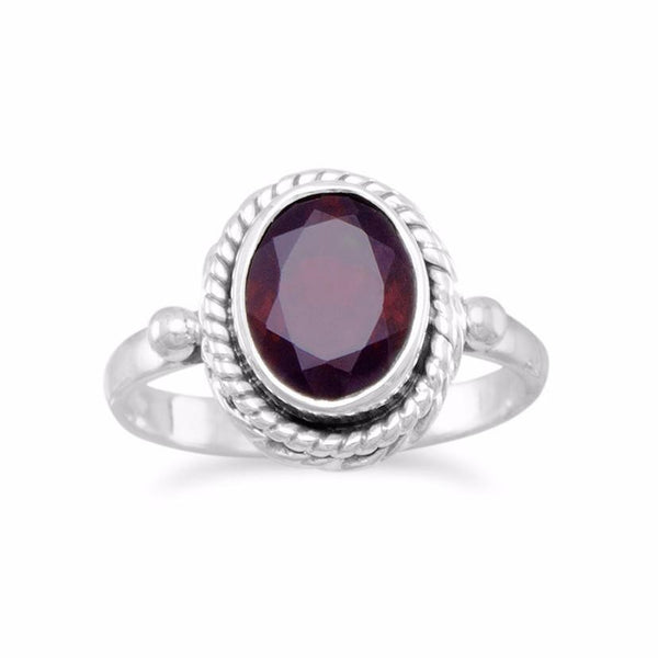 Sterling Silver Rope Edge with Faceted Garnet Gemstone Ring - deelytes-com