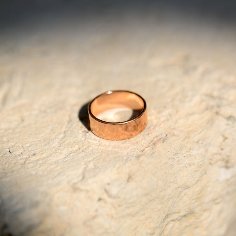 Solid Copper Hammered Ring - deelytes-com