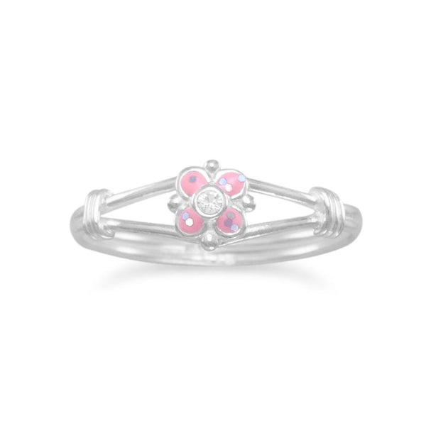 Sterling Silver Pink Flower Ring - deelytes-com