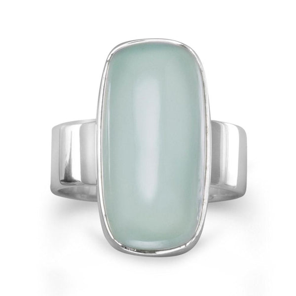 Sterling Silver Oval Green Chalcedony Gemstone Ring - deelytes-com