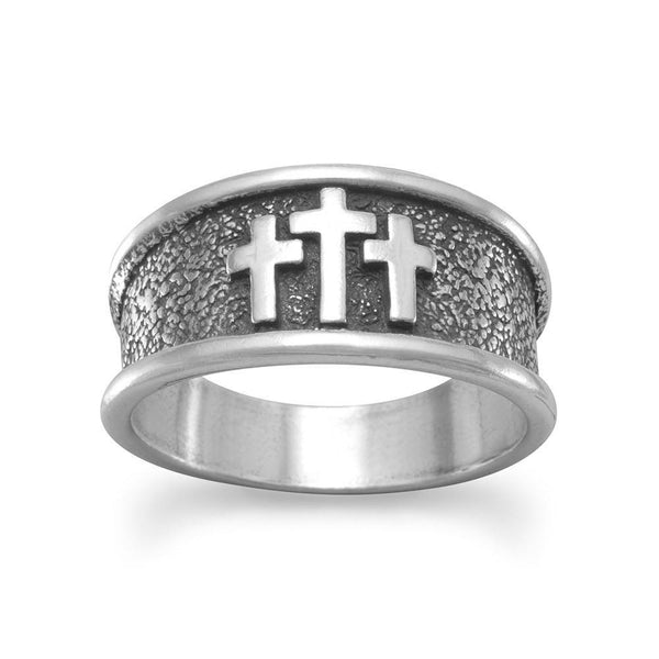 Sterling Silver Three Cross Ring - deelytes-com