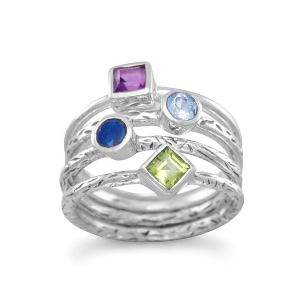 4 Band Multi-Gemstone Sterling Silver Ring - deelytes-com