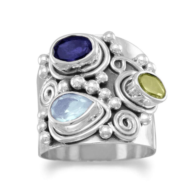 Multi-Gemstone Sterling Silver Ornate Ring - deelytes-com