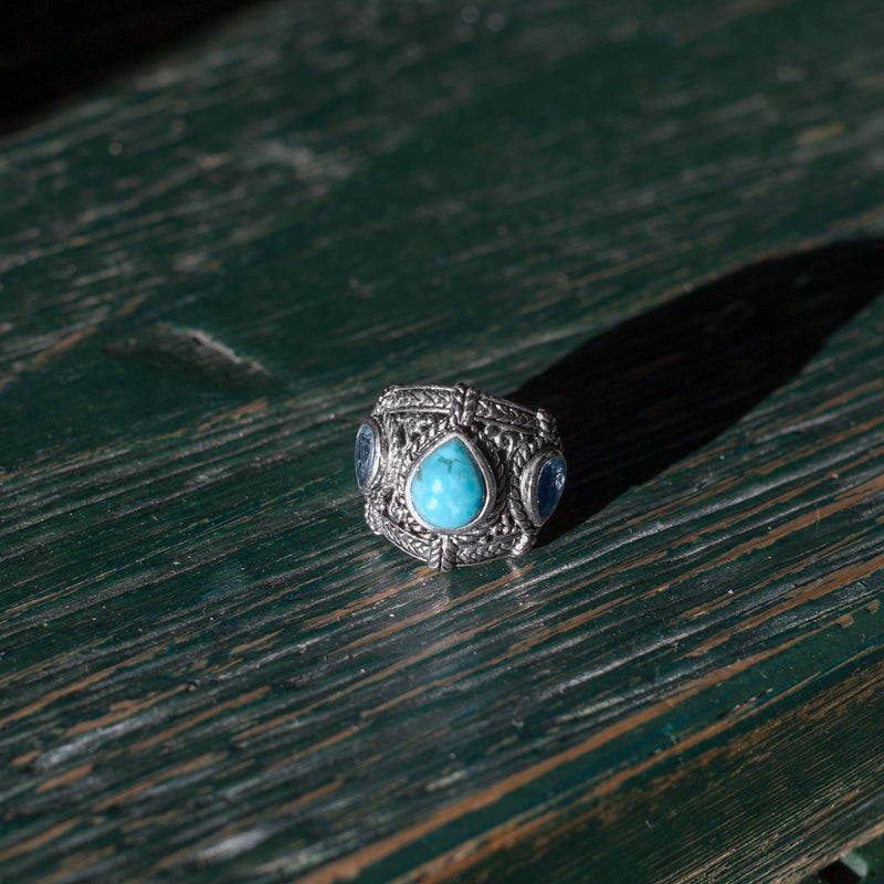 Blue Topaz and Turquoise Sterling Silver Ring - deelytes-com