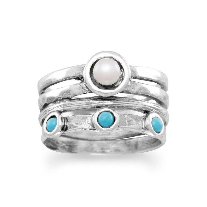 Cultured Freshwater Pearl and Turquoise Sterling Silver Ring - deelytes-com