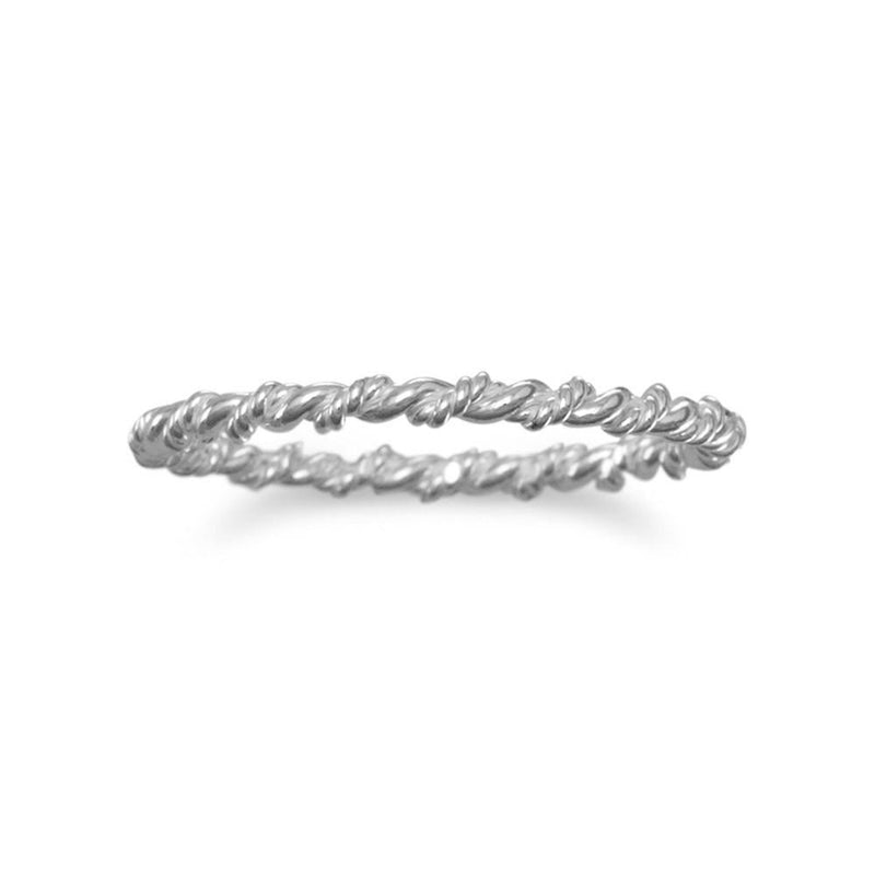 Sterling Silver Thin Twisted Band - deelytes-com