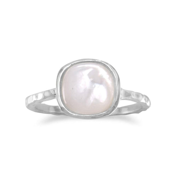 Mother of Pearl Sterling Silver Stackable Ring - deelytes-com