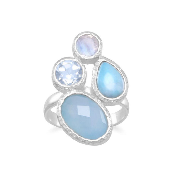 Chalcedony, Larimar, Topaz and Moonstone Cluster Sterling Silver Ring - deelytes-com