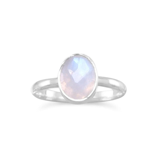 Faceted Moonstone Stackable Sterling Silver Ring - deelytes-com
