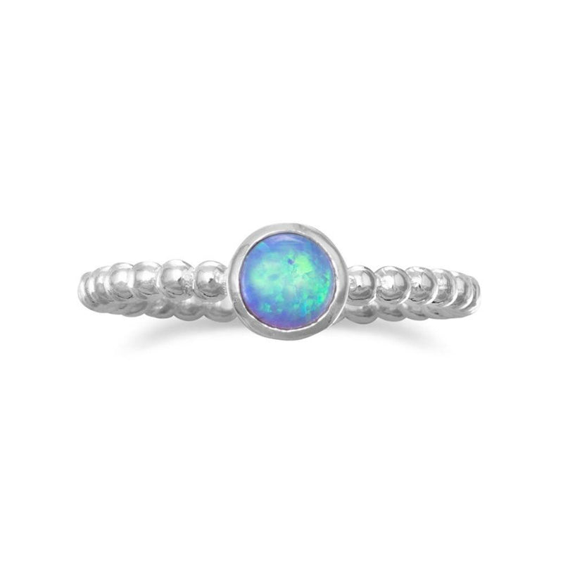 Round Opal Sterling Silver Ring - deelytes-com