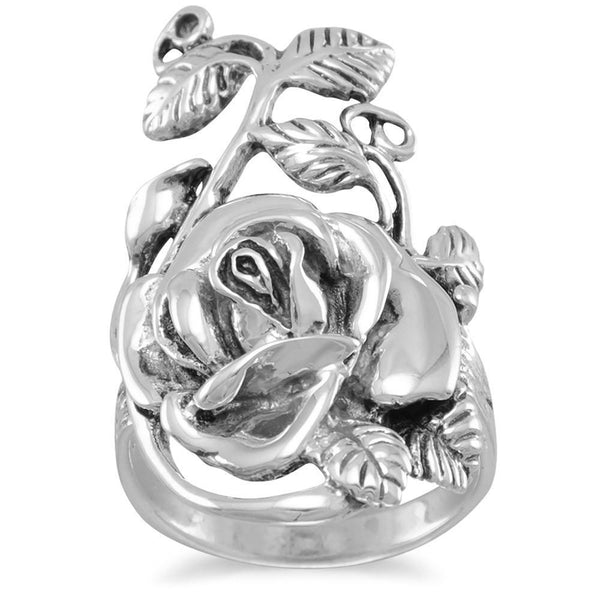 Sterling Silver Rose Ring - deelytes-com