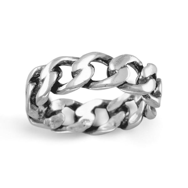 Sterling Silver Curb Chain Ring - deelytes-com