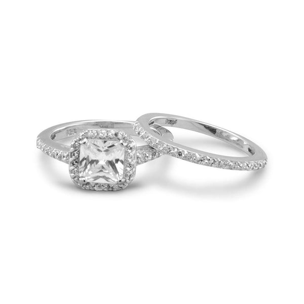 Sterling Silver CZ Engagement Ring Set - deelytes-com