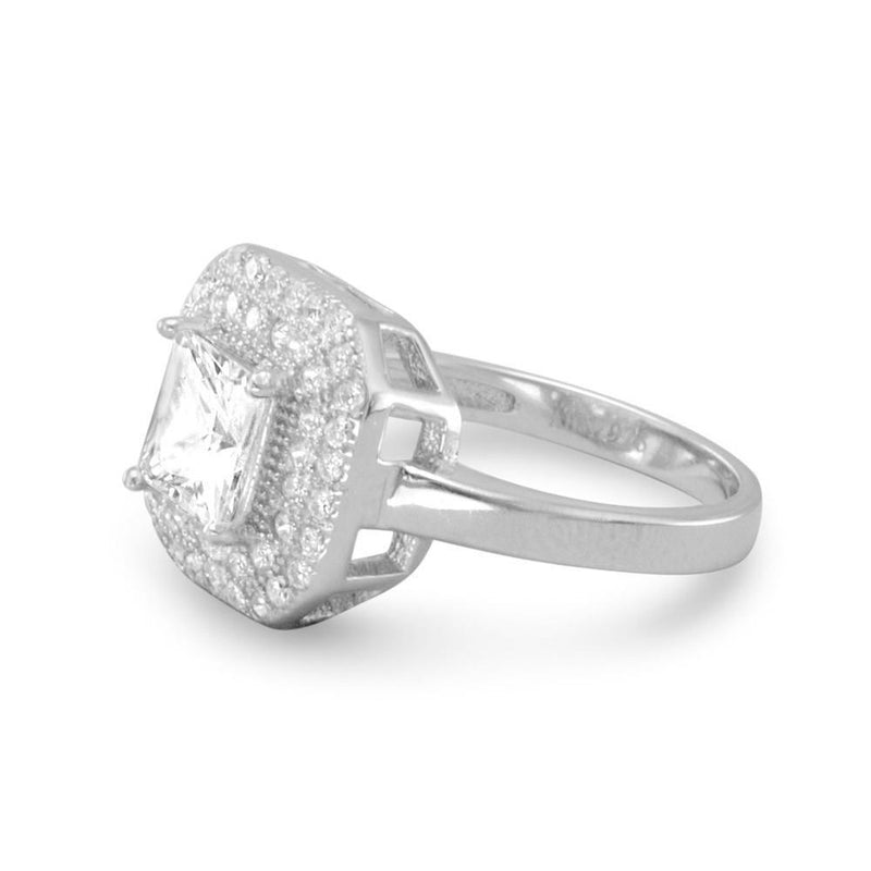 Sterling Silver Square CZ Ring - deelytes-com