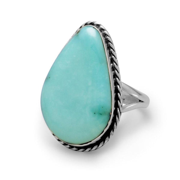 Stabilized Free-form Turquoise Sterling Silver Ring - deelytes-com