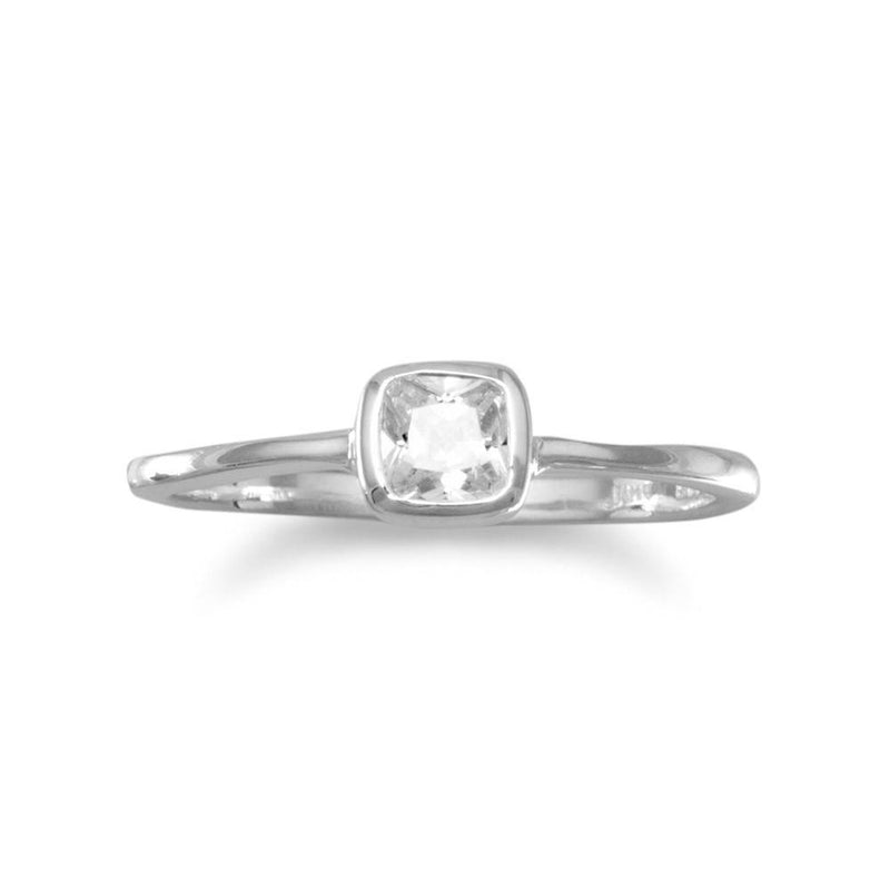 Sterling Silver Square Clear CZ Ring - deelytes-com