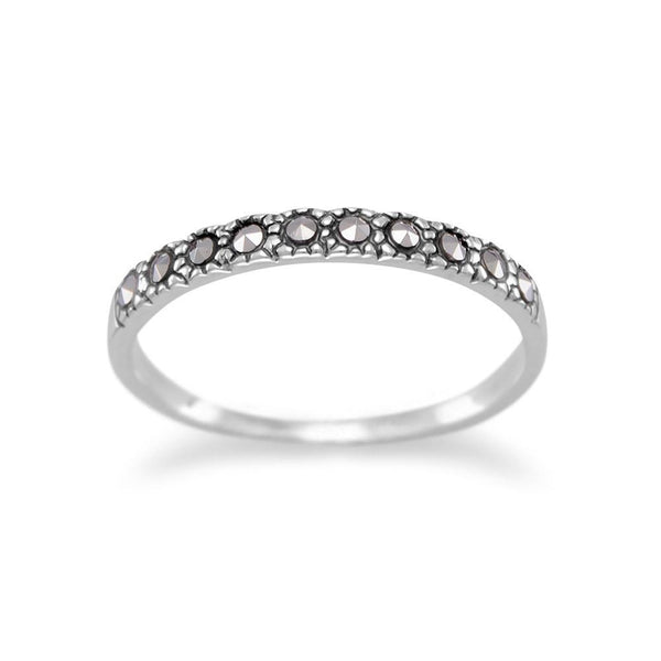 Sterling Silver Thin Marcasite Band - deelytes-com