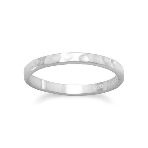 Thin Hammered Sterling Silver Band Children's Midi Ring - deelytes-com