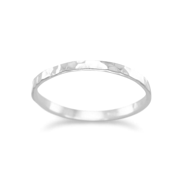 Thin Polished Sterling Silver Hammered Band - deelytes-com