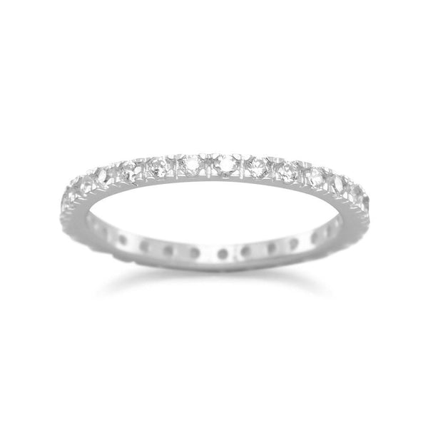 Sterling Silver CZ Eternity Band - deelytes-com