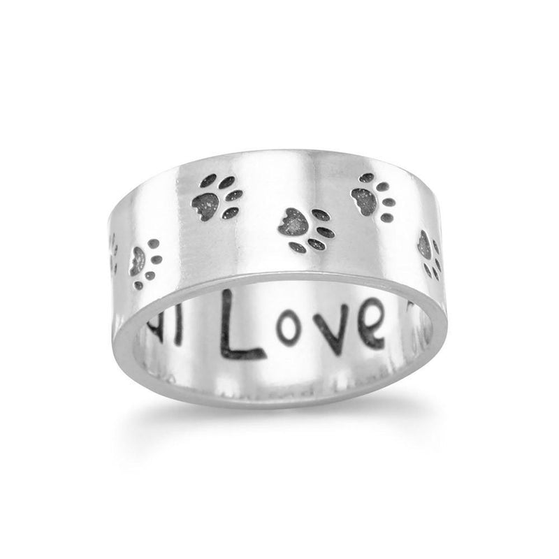 Sterling Silver Paw Print Band Ring - deelytes-com
