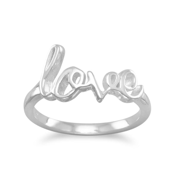"Polished Script ""love"" Sterling Silver Ring - deelytes-com"