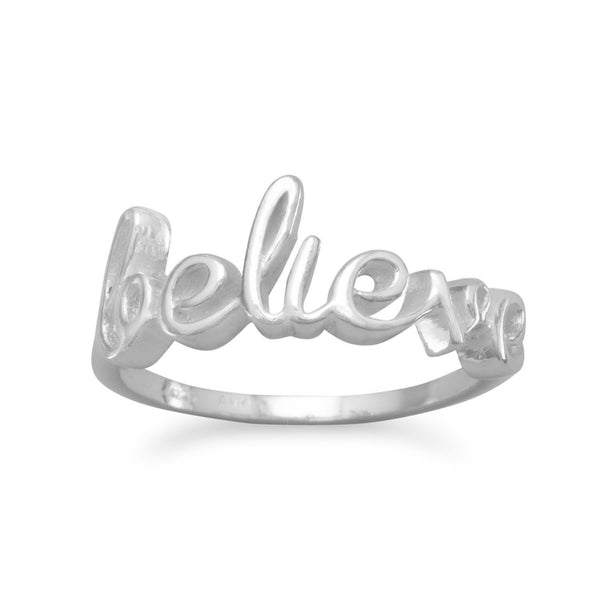 "Polished Script ""believe"" Sterling Silver Ring - deelytes-com"